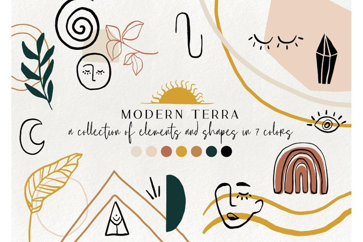 120 modern abstract design elements - floral illustrations