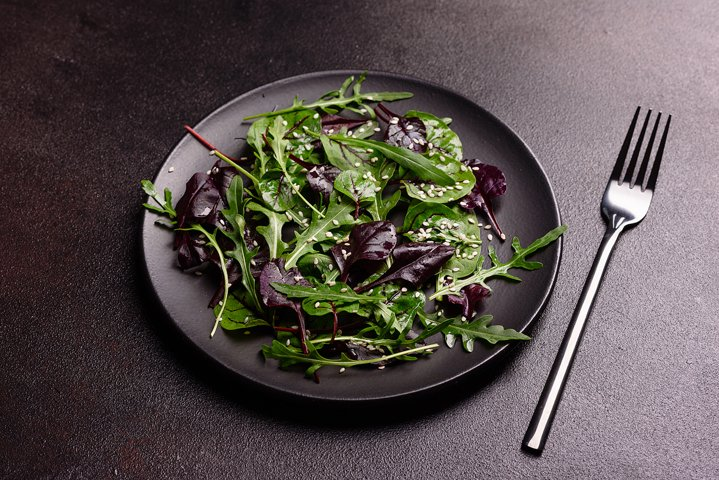 Healthy food, salad mix with arugula and spinach. 5 photos