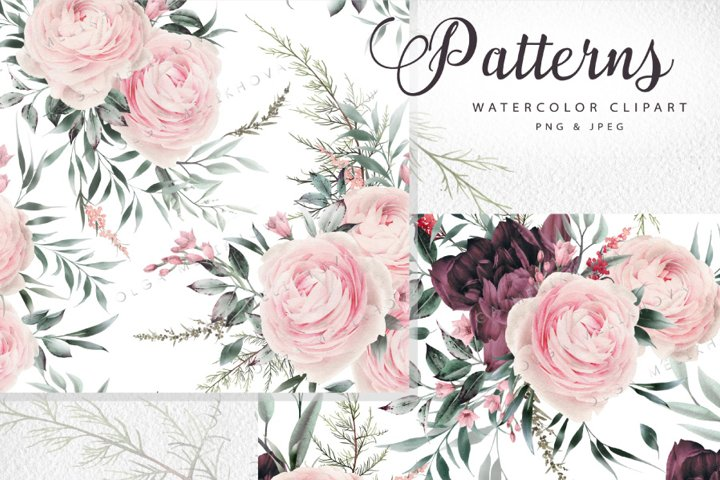 Seamless floral patterns, Watercolor flowers