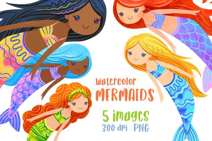 Mermaid clipart Watercolor mermaid party clip art Bundle PNG