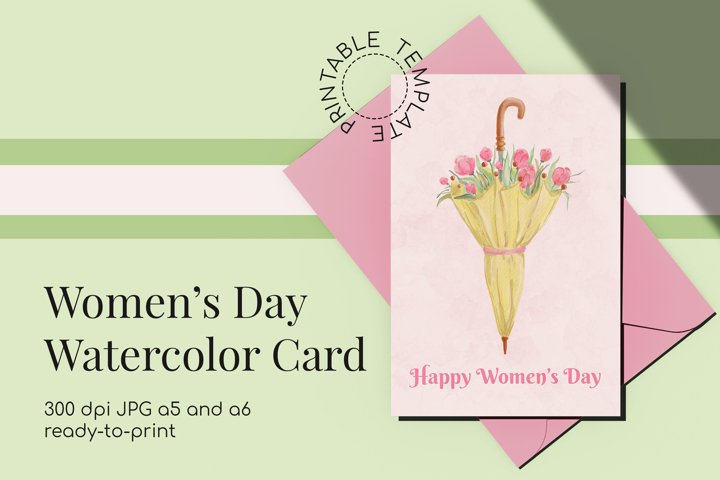 Womens Day Watercolor Card with Umbrella & tulips Printable