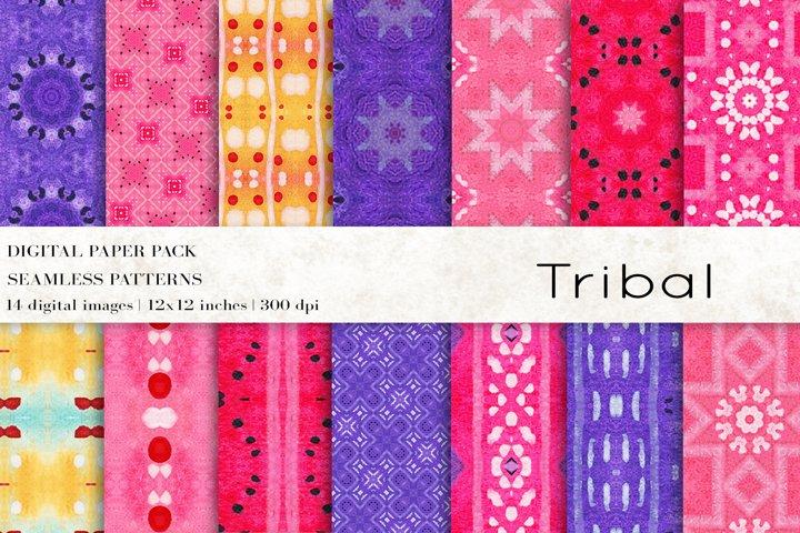 Tribal Digital Papers, Boho Seamless Patterns