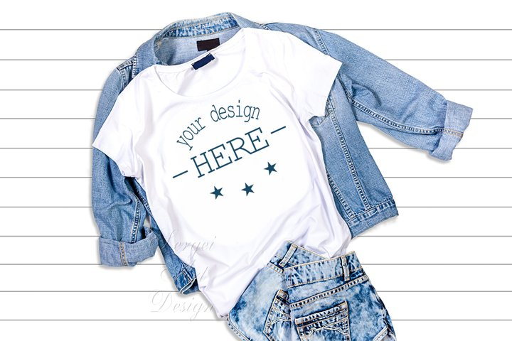 White T-Shirt Mockup Template,T-shirt on a Jeans Jacket