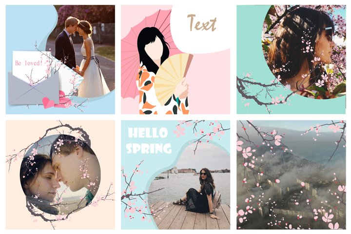 Spring template for social networks and instagram with branc