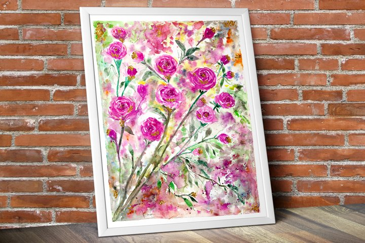 Watercolor Floral Bouquet, Roses painting art, Digital print