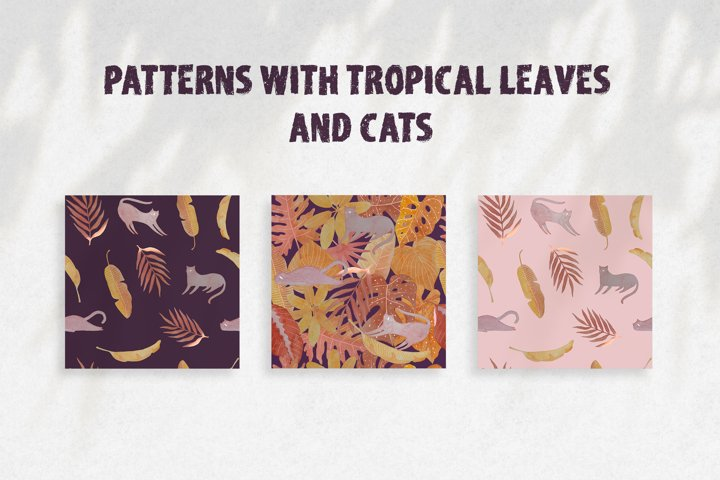 Seamless watercolor pattern with tropical leaves and cats