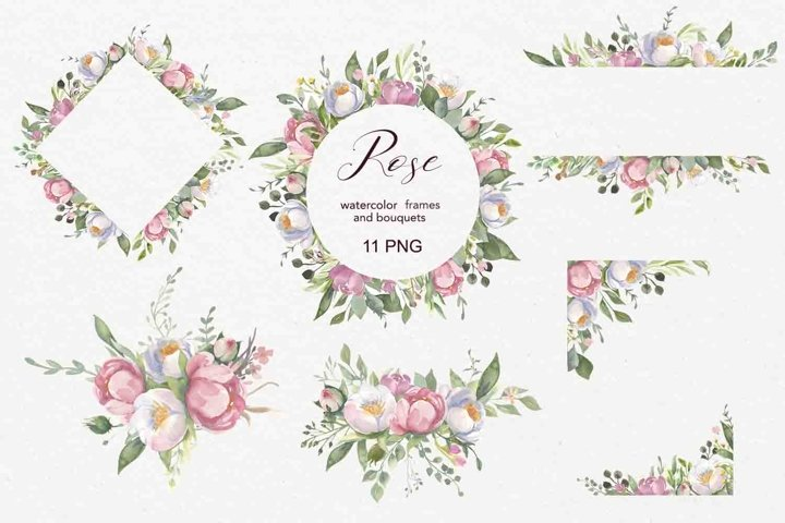 Roses frames. Watercolor clipart.