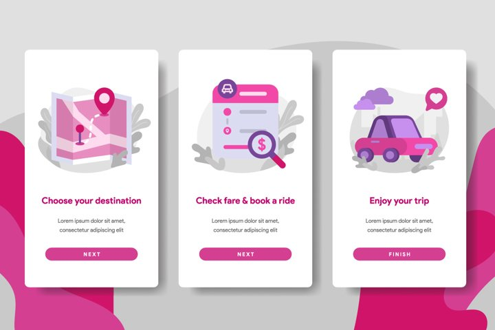 Onboarding screen page template of Online Transportation