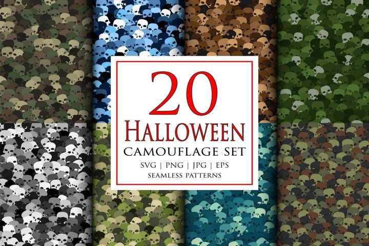 20 Vector Halloween camouflage masking seamless pattern set