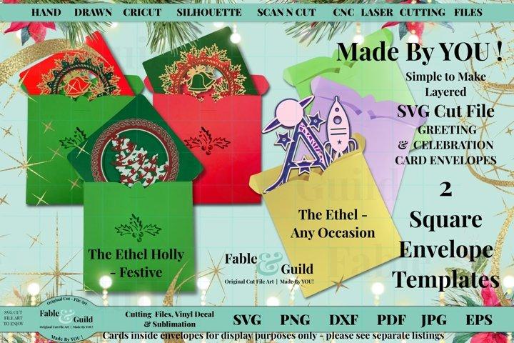 3D Design Christmas Holly Birthday Blank Envelope Template
