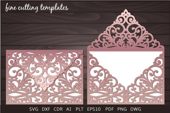 Laser cut Wedding Invitation 5x7 Envelope template svg, cdr