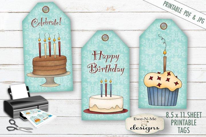 Printable Birthday Tags - Cake Cupcakes - PDF & JPG