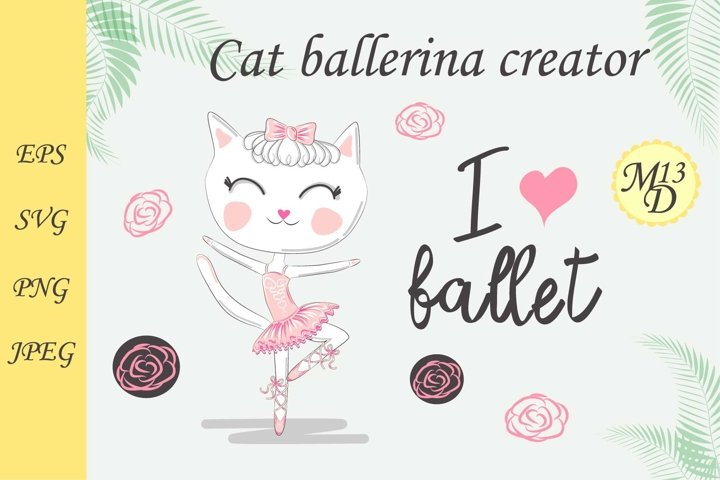 Cat ballerina creator. Composition with ballet shoes