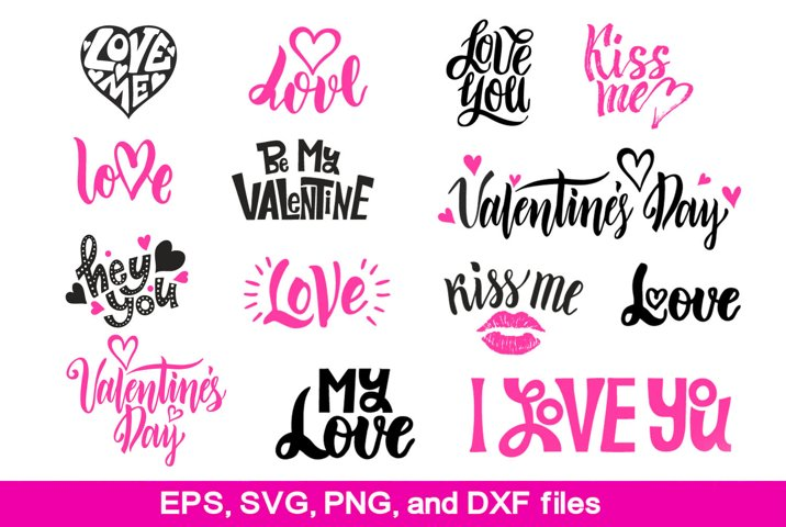 Quotes about love lettering set. SVG