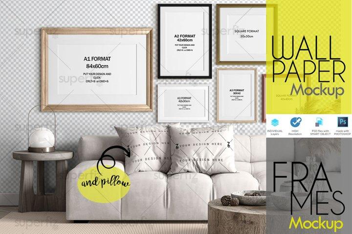 Frame & Wall & Pillow Mockup Interior Scene SM110S