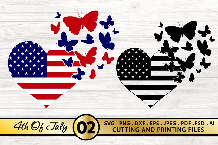 4th of July SVG American Flag Heart SVG Butterfly SVG USA