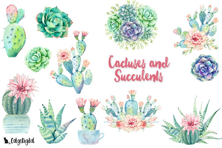 Watercolor Cactuses and Succulents Clipart