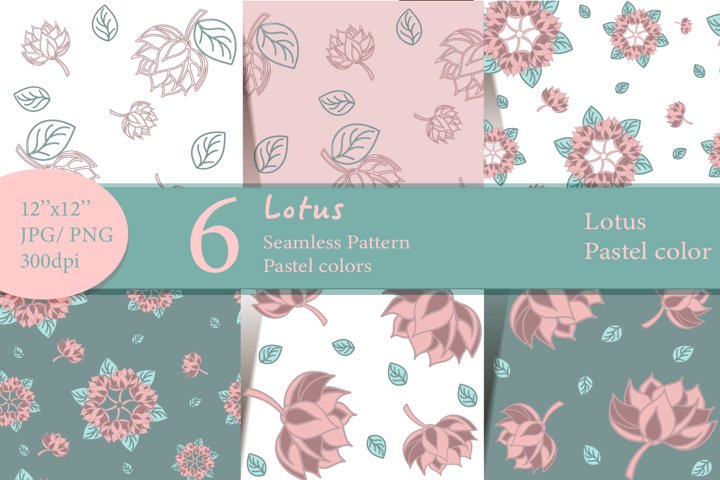 Lotus Digital Paper. Pattern lotus in pastel colors.