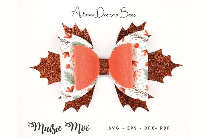 Fall Bow SVG, Harvest Bow Template SVG, Leaf Autumn Hair Bow
