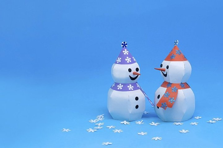 Two 3d paper snowman for christmas decor