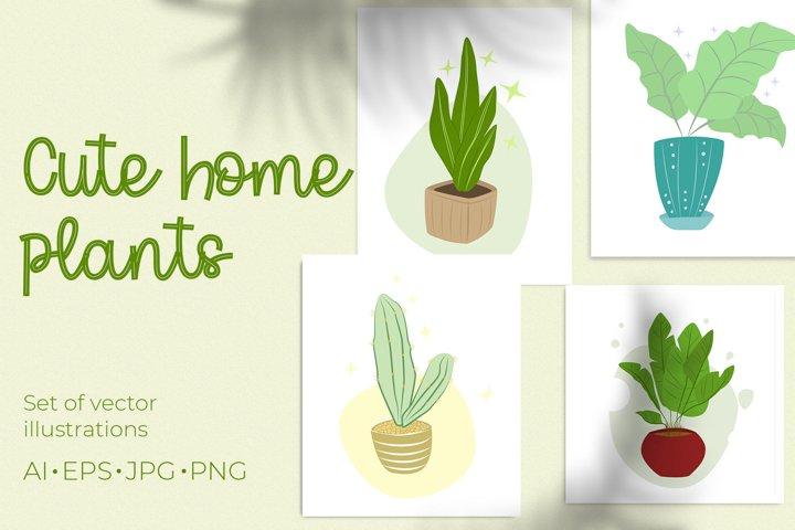 CUTE HOME PLANTS vector illustration