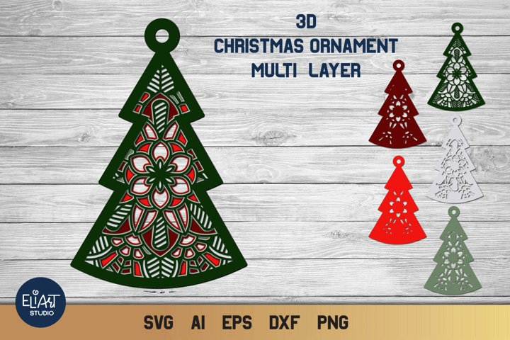 Multi Layer Christmas Tree SVG | 3D Layered Ornament SVG