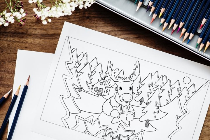 Merry Christmas and Happy New Year Deer coloring page