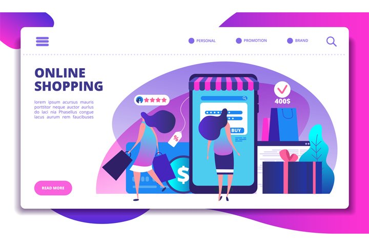 Online shopping landing page. People with smartphone doing i