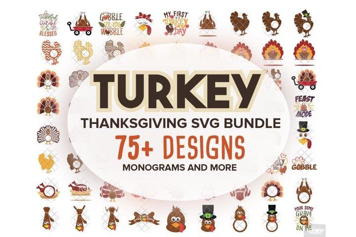 Turkey Svg Monogram Thanksgiving In Svg Dxf Png Eps Jpeg 122732 Cut Files Design Bundles