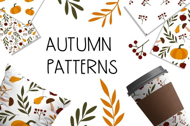 Autumn forest pattern set