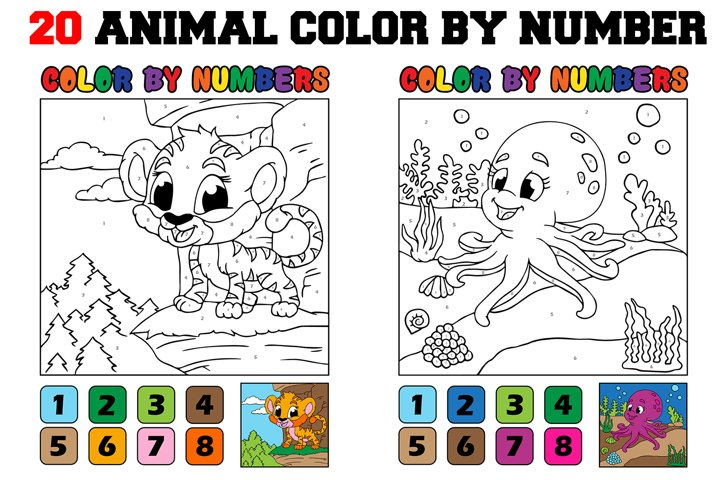Color By Numbers - 20 Animal Pages