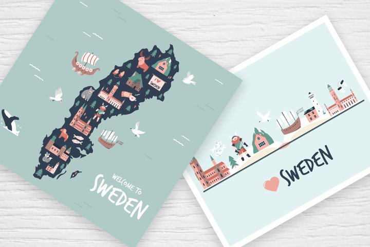 Sweden Illustrated Map, Posters and Greeting Cards