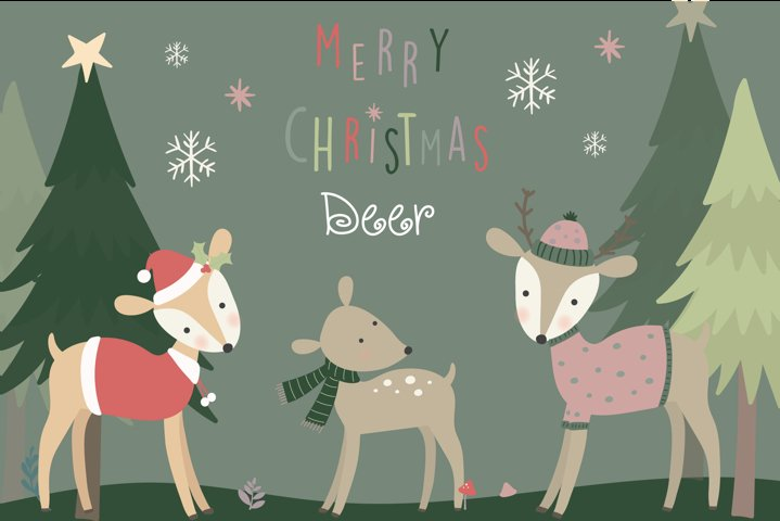 Merry Christmas Deer clipart and paper set