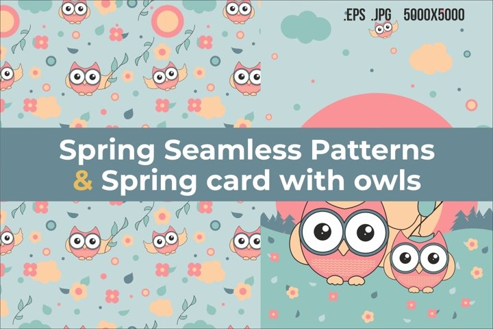 Spring seamless pattern with owls and Spring card