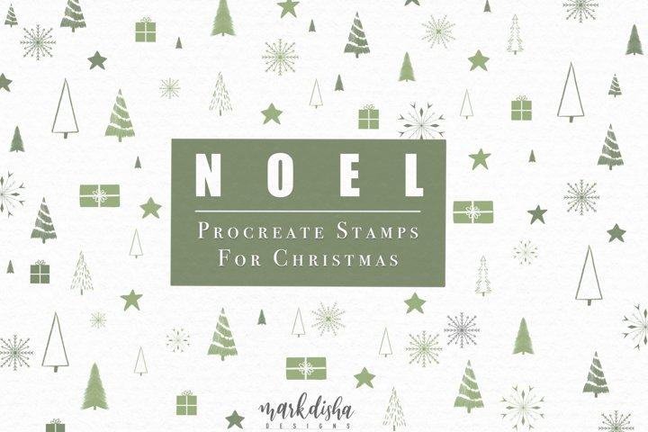 NOEL Procreate Christmas Elements Brush Stamps