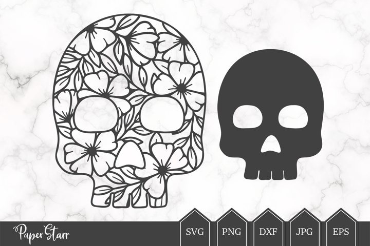 Floral Skull SVG Cut File for Crafters