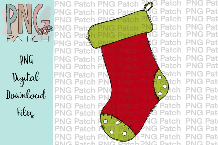 Green Toed Stocking, Christmas PNG File, Sublimation