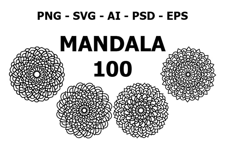 100 various mandala collections colorful. Roses