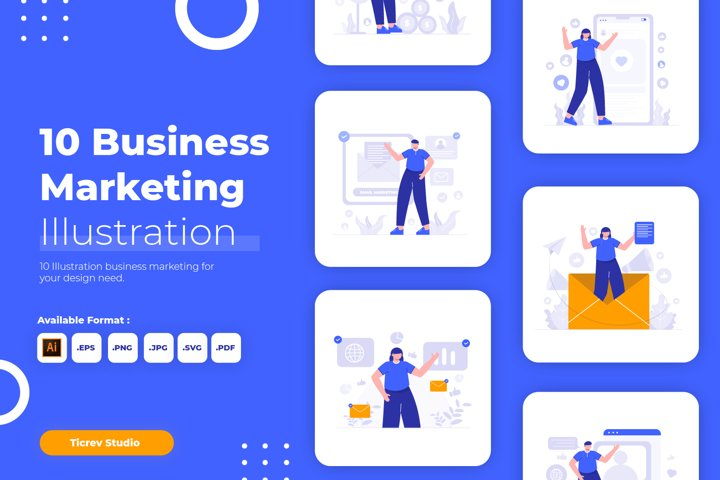 Business Marketing Flat Vector Illustration Set
