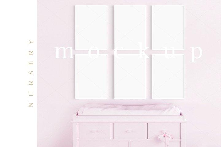 Girls Room Nursery A4 White Frame Digital Pink Mockup/M207