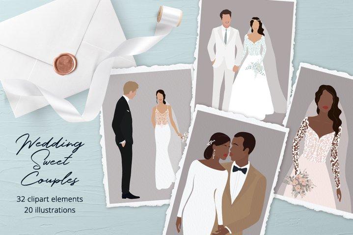 Wedding Sweet Couples Illustration Set