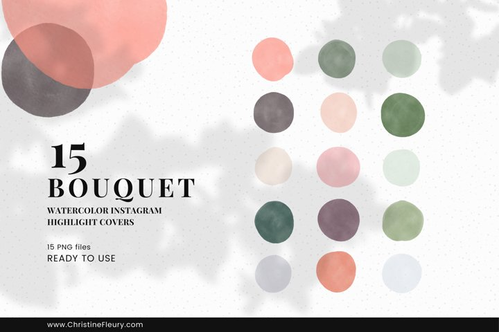 Watercolor Instagram Story Highlight Covers - Bouquet