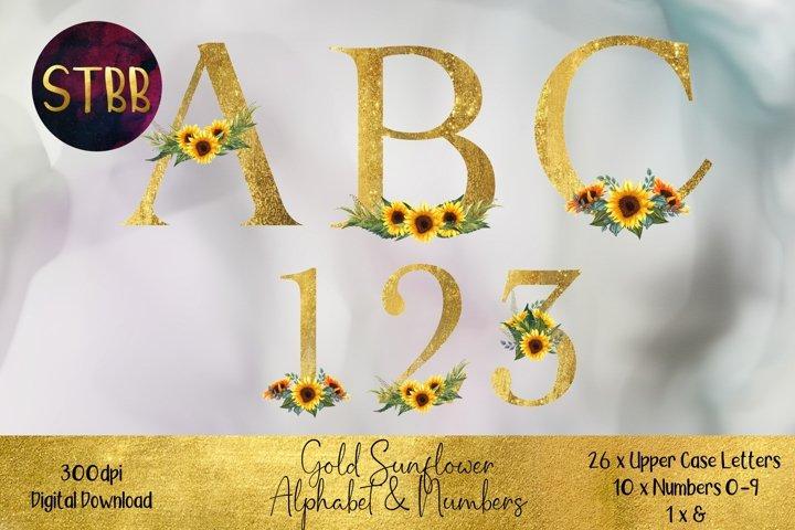Gold Sunflower Alphabet & Numbers Set
