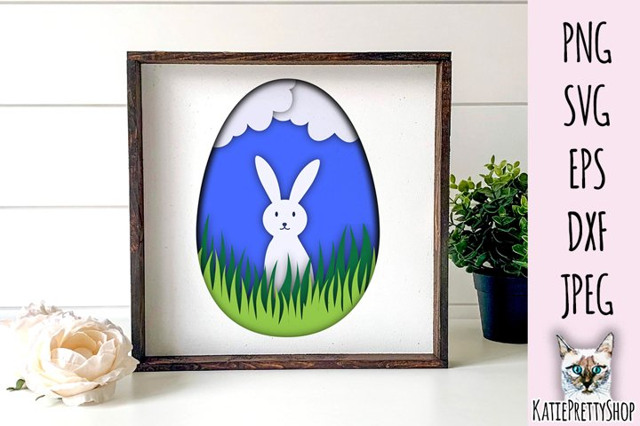 Easter Bunny Shadow Box 3D Template - SVG Papercut Cutting