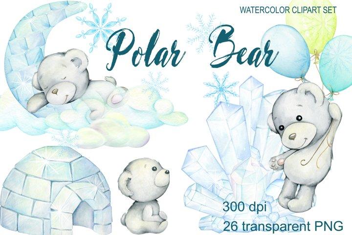 Polar Bear, watercolor polar bears, baby bear, personalised