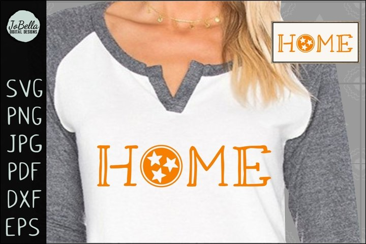 Home with Tennessee TriStar SVG, Sublimation PNG & Printable