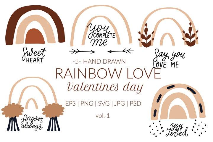 Boho rainbow svg valentines quotes svg