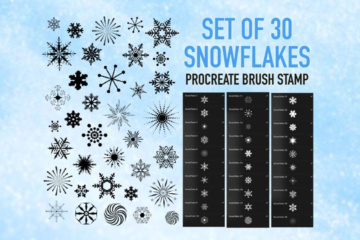 Snowflake Stamps Brushes for Procreate