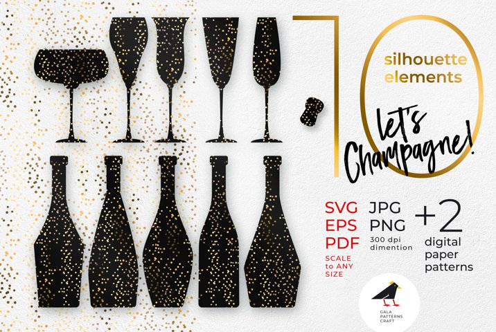 Champagne glasses & bottles for new year party SVG cut set