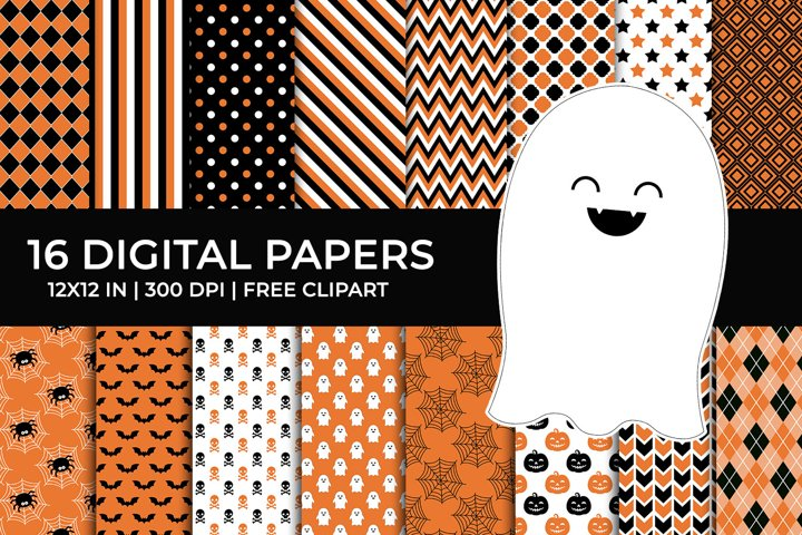 Halloween Digital Papers Set, Free Ghost Clipart